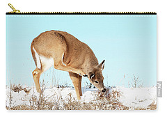 A Deer Playing In Snow Carry-all Pouch