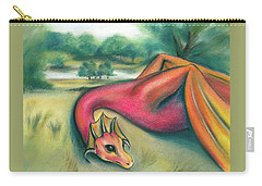 Carry-all Pouch featuring the pastel A Dragon In Cheshire by MM Anderson