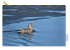 Carry-all Pouch featuring the photograph A Female Mallard In Thunder Bay by Michael Peychich
