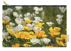 Carry-all Pouch featuring the photograph A Field Of Golden And White Poppies  by Saija Lehtonen