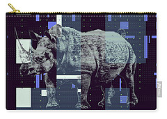 Carry-all Pouch featuring the digital art A Geometric Rhinoceros. by Anthony Murphy