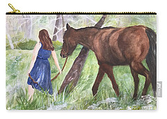 Carry-all Pouch featuring the painting A Girl's Best Friend by Lucia Grilletto
