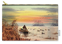Carry-all Pouch featuring the painting A Great Day For Duck Hunting by Bill Holkham