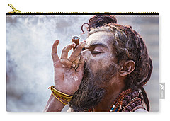A Hindu Sadhu Smoking A Hash Pipe - India. Carry-all Pouch