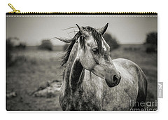 A Horse In Profile In Black And White Carry-all Pouch