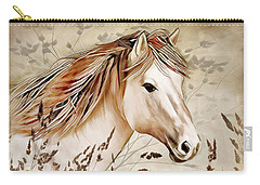 Carry-all Pouch featuring the digital art A Horse Of Course by Nina Bradica