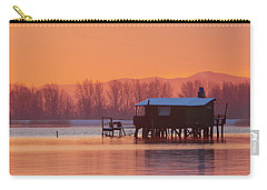 Carry-all Pouch featuring the photograph A Hut On The Water by Davor Zerjav