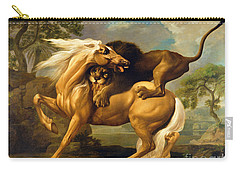 A Lion Attacking A Horse Carry-all Pouch