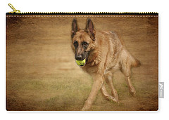 Carry-all Pouch featuring the photograph A Little Playtime - German Shepherd Dog by Angie Tirado