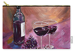 A Little Wine On My Canvas - Wine - Grapes Carry-all Pouch