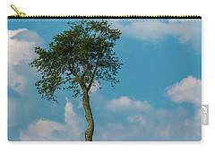 Carry-all Pouch featuring the photograph A Lonely Tree On A Hill by Guy Whiteley