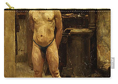 Carry-all Pouch featuring the painting A Male Model Standing Before A Stove John Singer Sargent by Artistic Panda