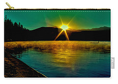 A Misty Sunrise On Priest Lake Carry-all Pouch by David Patterson