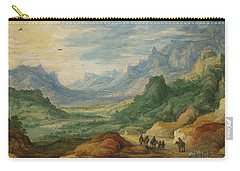 A Mountainous Landscape With Travellers And Herdsmen On A Path Carry-all Pouch
