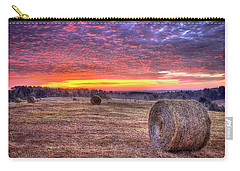 Carry-all Pouch featuring the photograph Before A New Day Georgia Hayfield Sunrise Art by Reid Callaway