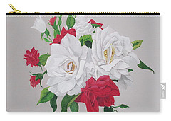 Carry-all Pouch featuring the painting A New Rose Bouquet by Hilda and Jose Garrancho