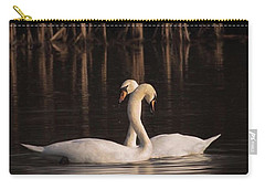 A Painting Of A Pair Of Mute Swans Carry-all Pouch by John Edwards
