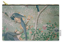 A Pair Of Magpie Jays  Vintage Wallpaper Carry-all Pouch