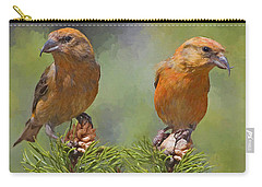 A Pair Of Male Red Crossbills - Painted Carry-all Pouch