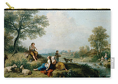 A Pastoral Scene With Goatherds Carry-all Pouch by Francesco Zuccarelli