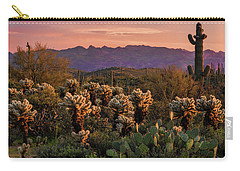 Carry-all Pouch featuring the photograph A Pink Kissed Sunset  by Saija Lehtonen