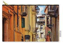 Carry-all Pouch featuring the photograph A Pretty Little Street In Verona Italy  by Carol Japp