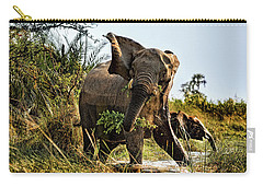 A Protective Mama Elephant With Calf  Carry-all Pouch