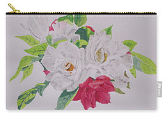 Carry-all Pouch featuring the painting A Rose Bouquet by Hilda and Jose Garrancho