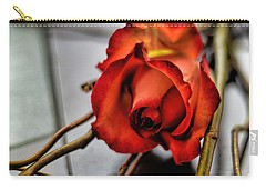 Carry-all Pouch featuring the photograph A Rose On Bamboo by Diana Mary Sharpton