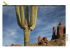 Carry-all Pouch featuring the photograph A Saguaro In Spring by James Eddy