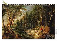 A Shepherd With His Flock In A Woody Landscape Carry-all Pouch