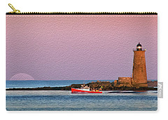 A Ship Passes The Super Moon And Whaleback Carry-all Pouch