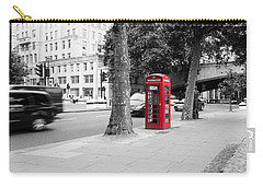 A Single Red Telephone Box On The Street Bw Carry-all Pouch