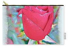 Carry-all Pouch featuring the photograph A Single Rose In October by Joan  Minchak