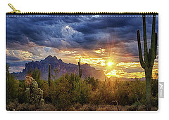 Carry-all Pouch featuring the photograph A Sonoran Desert Sunrise - Square by Saija Lehtonen