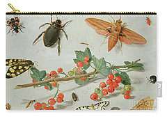 A Sprig Of Redcurrants With An Elephant Hawk Moth, A Magpie Moth And Other Insects, 1657 Carry-all Pouch