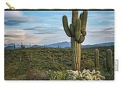 Carry-all Pouch featuring the photograph A Spring Evening In The Sonoran  by Saija Lehtonen