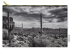 Carry-all Pouch featuring the photograph A Morning Hike In The Superstition In Black And White  by Saija Lehtonen