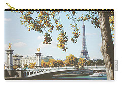 Carry-all Pouch featuring the photograph A Stroll Along The River Seine In Paris by Ivy Ho
