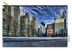 A Stylized Look At Chicago's Crown Fountain In The Winter Carry-all Pouch