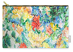 Carry-all Pouch featuring the painting A Summer Garden Frolic by Esther Newman-Cohen