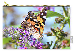 Carry-all Pouch featuring the photograph A Summer Lady - Painted Lady Butterfly by Kerri Farley