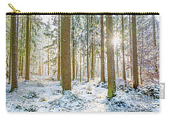 Carry-all Pouch featuring the photograph A Sunny Day In The Winter Forest by Hannes Cmarits
