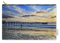 A Surfer Heads Home Under A Cloudy Sunset At Crystal Pier Carry-all Pouch