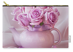 A Tea Pot Of Lavender Pink Roses  Carry-all Pouch by Sandra Foster