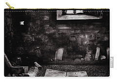 Carry-all Pouch featuring the photograph A Tombstone In Sligo Abbey Bw by RicardMN Photography