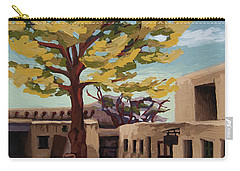 Carry-all Pouch featuring the painting A Tree Grows In The Courtyard, Palace Of The Governors, Santa Fe, Nm by Erin Fickert-Rowland