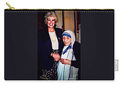 Carry-all Pouch featuring the digital art A Vist With Mother Teresa by Kathy Tarochione