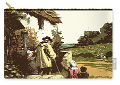 Carry-all Pouch featuring the drawing A Walk With The Grand Kids by Digital Art Cafe