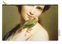 A Young Beauty With A Parakeet Carry-all Pouch